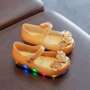 Picture of Floral LED Pure Gold Girl Jelly Shoes For Kids