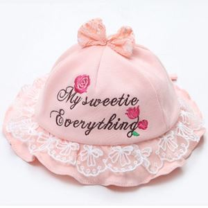 Picture of Graceful Peach Rose Cotton Cute Infant Head Baby Girl hat