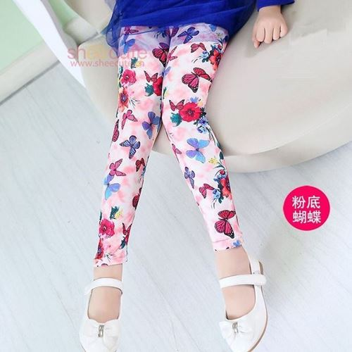 Picture of Koean Stylist Buterfly&Floral Printed Girl Leggings Pants