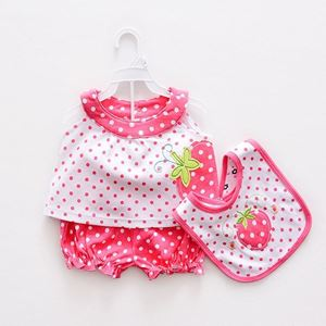Picture of Adorable Cotton Short Sleeve With Bib For Baby Girl Set
