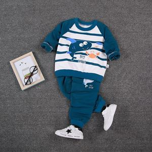 Picture of Ocean Stripe Printed Boy Longsleeve Shirt and Pant Two-Piece Set
