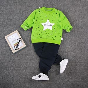 Picture of Green Star Printed Boy Longsleeve Shirt and Pant Two-Piece Set
