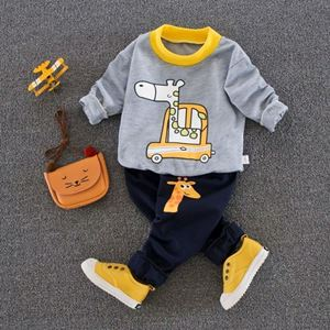Picture of Sweater Giraffe Pattern Top With Long Pant Casual Wear Clothing Set