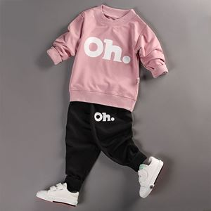 Picture of Letter Printed Longsleeve Shirt and Pant Two-Piece Set