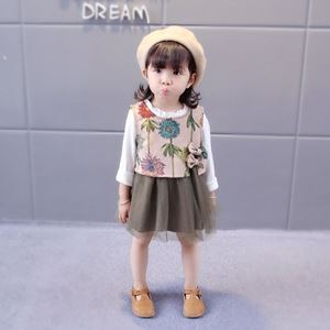 Picture of Korea Stylist Longsleeve Floral Dress With Vest Two-Piece Set