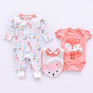 Picture of Cute Pink Fox Printed Romper&Jumpsuit With Bib