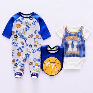 Picture of Cool Baseball Printed Romper&Jumpsuit With Bib