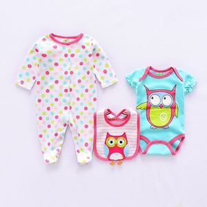 Picture of Cute Owl Printed Romper&Jumpsuit With Bib