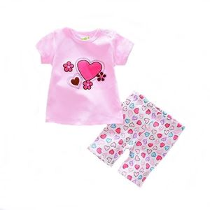 Picture of Love Printed Short Sleeve Casual Wear Two-Piece Clothing Set