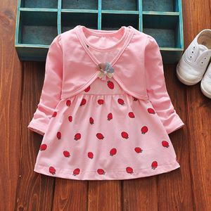 Picture of Sweet Strawberry Dress With Long Sleeve Coat Set for Girl
