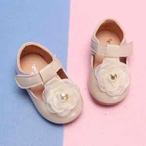 Picture of Temperament Beige Flower Shoes For Baby Girl