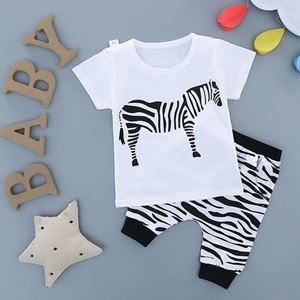 Picture of Zebra Printed Short Sleeve With Harem Pants Casual Wear Clothing Set