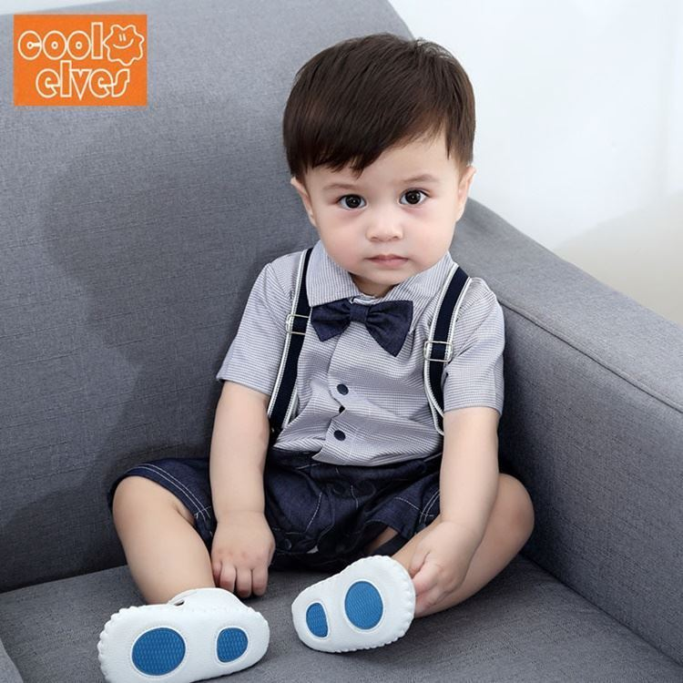 5dcd702d3 Stylish Shoulder Strap Bow Baby Boy Suit Romper Jumpsuit Clothes