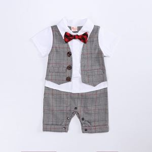 Picture of Gentleman Stylish Grey Grid Bow Baby Boy Suit Romper Jumpsuit Clothes