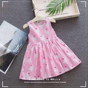 Picture of Girl Printed Duckling Sleeveless Cotton Dress Sleeveless Girl Dress