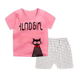 Picture of Kitten Printed Short Sleeve Casual Wear Two-Piece Clothing Set