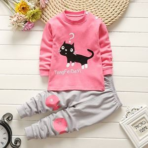 Picture of Black Kitten Pattern Top With Long Pant Pyjamas Set