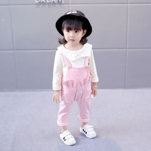 Picture of Korea Stylist Rabbit Longsleeve Overall Two-Piece Clothing Set