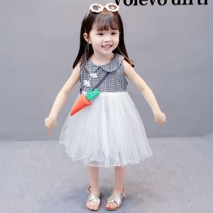 Picture of Chinese Style Black White Plaid Sleeveless Princess Dress