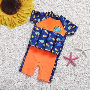 Picture of Baby Memo Fish Short Sleeve Floting Swim Wear with Hat (2-7years)