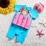 Picture of Cute Safia Short Sleeve Floting Swim Wear with Hat (2-7years)