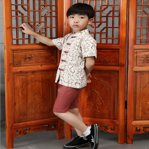 Picture of Chinese Style Short Sleeve Shirt and Pant Two-Piece Set