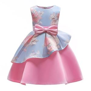 Picture of Graceful Bowknot Flower Print Sleeveless Zipper Back Princess Dress