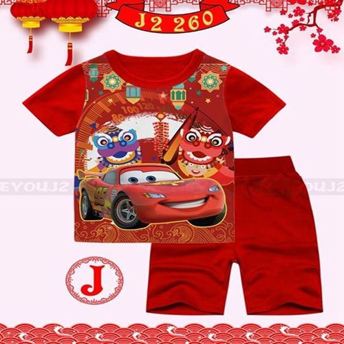 Picture of CNY Car 95 Short Sleeve Shirt and Pant Two-Piece Set(8-13y)