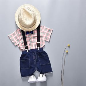 Picture of Handsome Plaid Strap Short Sleeve Shirt and Pant Two-Piece Set