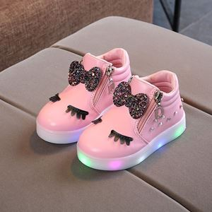 Picture of Fashionable Cute Cartoon Rhinestone Bow Shoes With Lighting