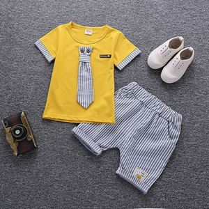 Picture of Stripe Necktie Short Sleeve Shirt and Pant Two-Piece Set