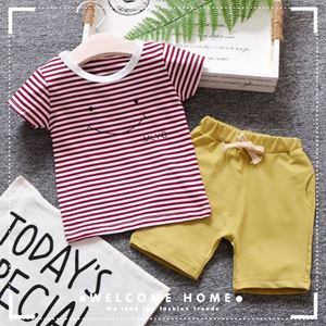 Picture of Maroon Stripe Short Sleeve Shirt and Pant Two-Piece Set
