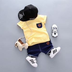 Picture of Yellow Stripe Short Sleeve Shirt and Pant Two-Piece Set