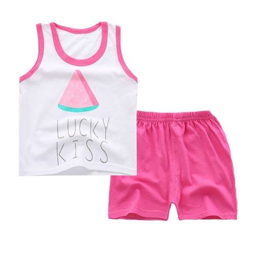 Picture of Two-Pieces Water Melon Sleeveless Garment and Shorts Pants Girl Clothing Set