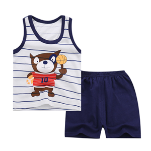 Picture of Two-Pieces Bear Sleeveless Garment and Shorts Pants Unisex Clothing Set