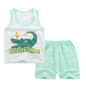Picture of Two-Pieces Crocodile Sleeveless Garment and Shorts Pants Unisex Clothing Set