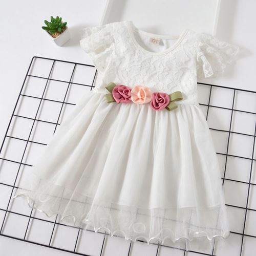 Picture of Beautiful Belted Flower Short Sleeve Dress