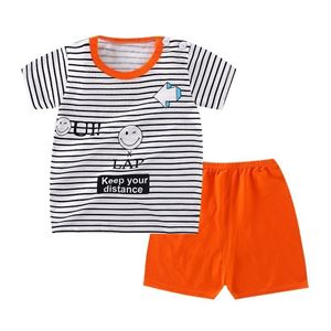 Picture of Stripe Orange Printed Short Sleeve Casual Wear Clothing Set