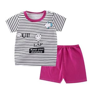 Picture of Stripe Emoji Printed Short Sleeve Casual Wear Clothing Set