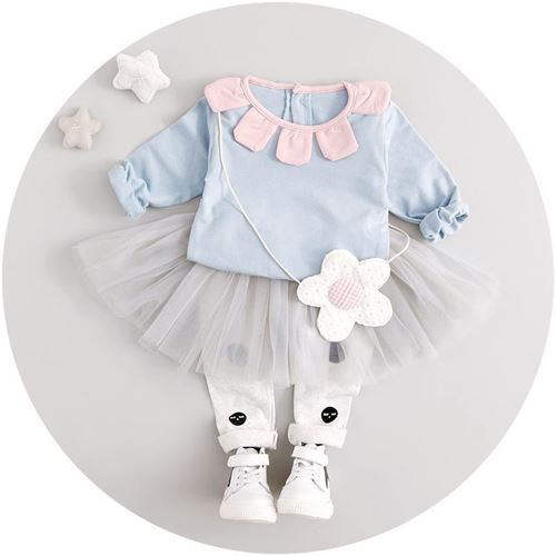 Picture of 2-piece Fashion Blue Tee With Net Skirt Leggings For Girl Clothing Set
