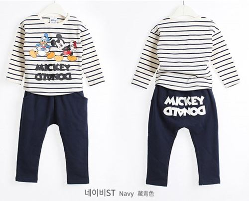Picture of Dark Blue Mickey&Donald Duck Unisex Long-Sleeves Shirt and Pants