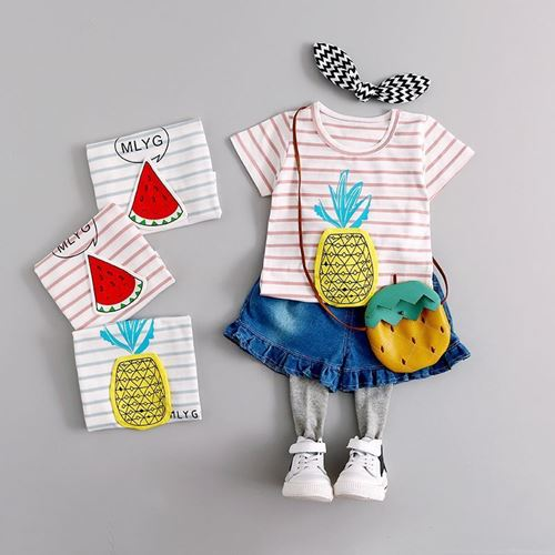 Picture of Girl Stripe Pineapple Shirt With Pant Denim