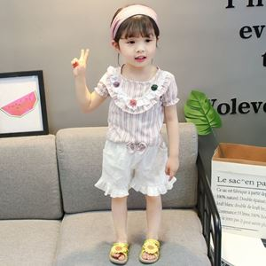 Picture of Pink Stripe Flower Shirt With White Pants Set