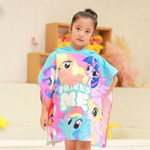 Picture of Adorable Cotton Kids Beach Cartoon Towel Hood Bathrobe For Girl