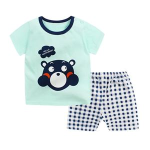 Picture of Green Bear Printed Short Sleeve Casual Wear Clothing Set