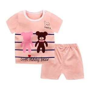 Picture of Teddy Bear Printed Short Sleeve Casual Wear Clothing Set