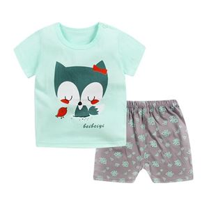 Picture of Green Fox Printed Short Sleeve Casual Wear Clothing Set