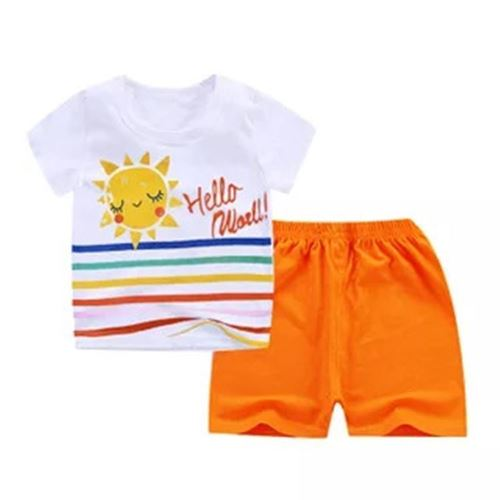 Picture of Sweet Sun Printed Short Sleeve Casual Wear Clothing Set