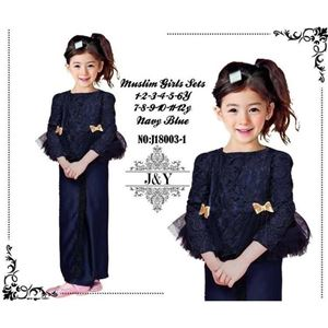Picture of Elegant Fashion Dark Blue Modern Kurung Set (Small Size)