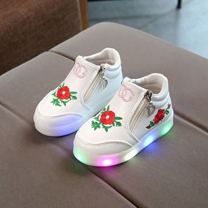 Picture of Fashionable White Flower Rose Shoes With Lighting (Big)